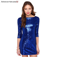 Women Dresses Three Quarter Sleeve Pretty Sparkling Blue Sequins Dress Mini Sexy Night Out Club Party