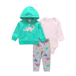 Image 5 - Abrigo de manga larga con capucha de corazón de amor + Mono gris + Pantalones rosa 2019 traje de niña recién nacida conjunto de ropa de niño ropa infantil traje