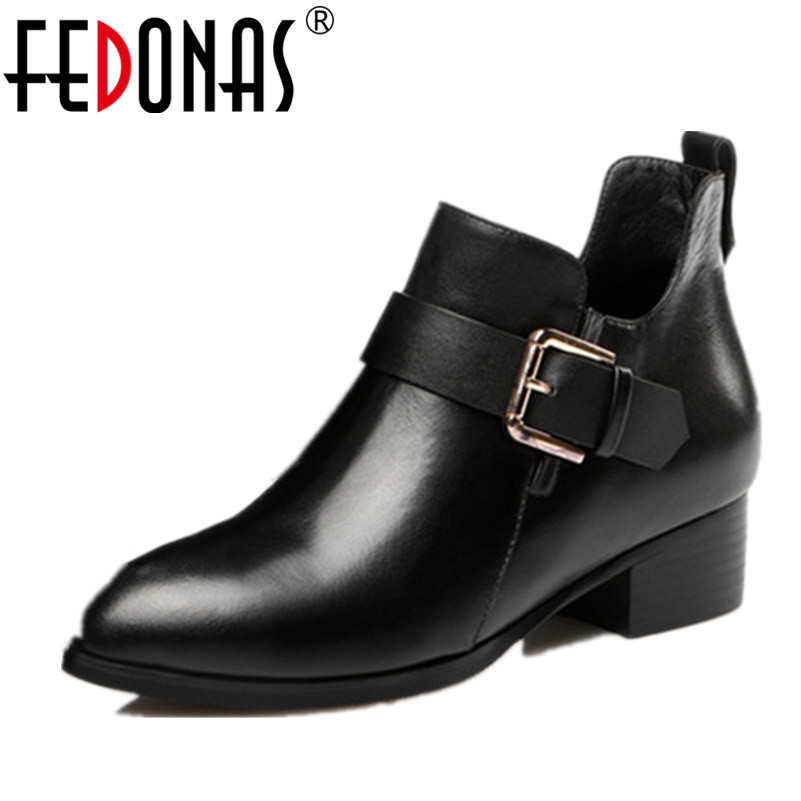 FEDONAS High Quality Women Ankle Snow Boots High Heel Boots Women Zip Black Autumn Winter Warm Genuine Leather Shoes Woman