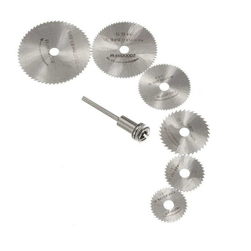 7Pcs/Set Rotary Circular Saw Disc 22,25,32,35,44,50MM Cutter Power Tools Discs Mandrel Cutoff  Multi Tool HSS Steel Cutter