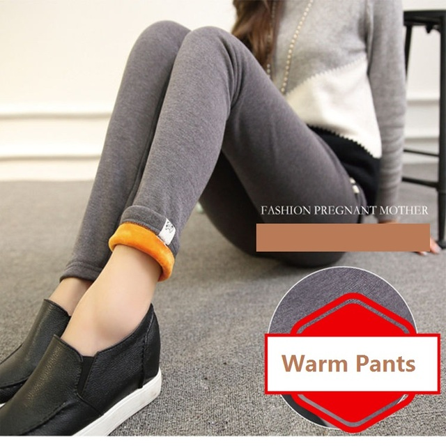 Inverno Mulheres Lenggings Calças De Maternidade Quentes Roupas Para Senhoras de Cintura Alta Grávidas Grávidas Calças Para Se Aquecer