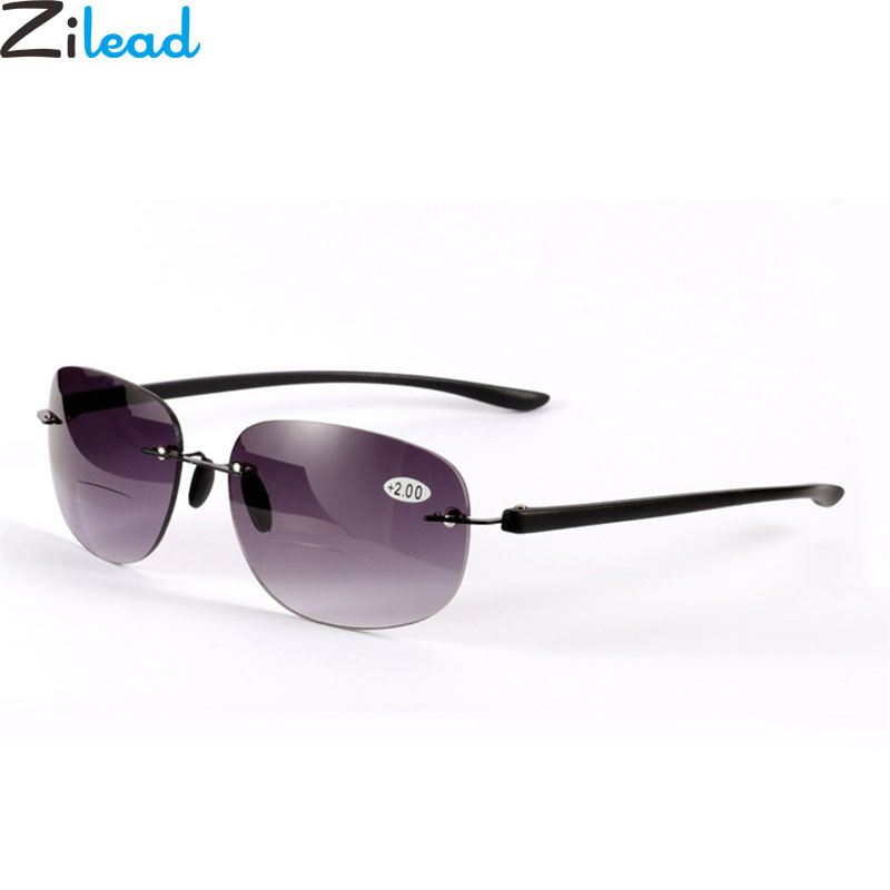Zilead Frameless Big Vision Reading Glasses Metal Magnifying Presbyopic Eyewear Glasses UV Shade Sun Reading Glasses+1.0...+4.0