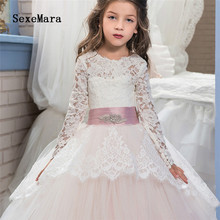 New White Lace Flower Girl Dress for Wedding Long Sleeve Lace Up Back Girls Communion Dress Pageant Gown Custom Madelx недорого