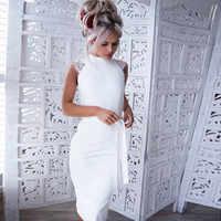 Vestidos de encaje Sexy de verano para mujer, Vestidos de lápiz cortos blancos sin mangas para mujer, Mini vestido de noche, Vestidos de fiesta 2018