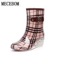 Women Rain Boots New Fashion Floral Lace Up Casual Shoes Waterproof Women Ankle Boots10 Style Sapato
