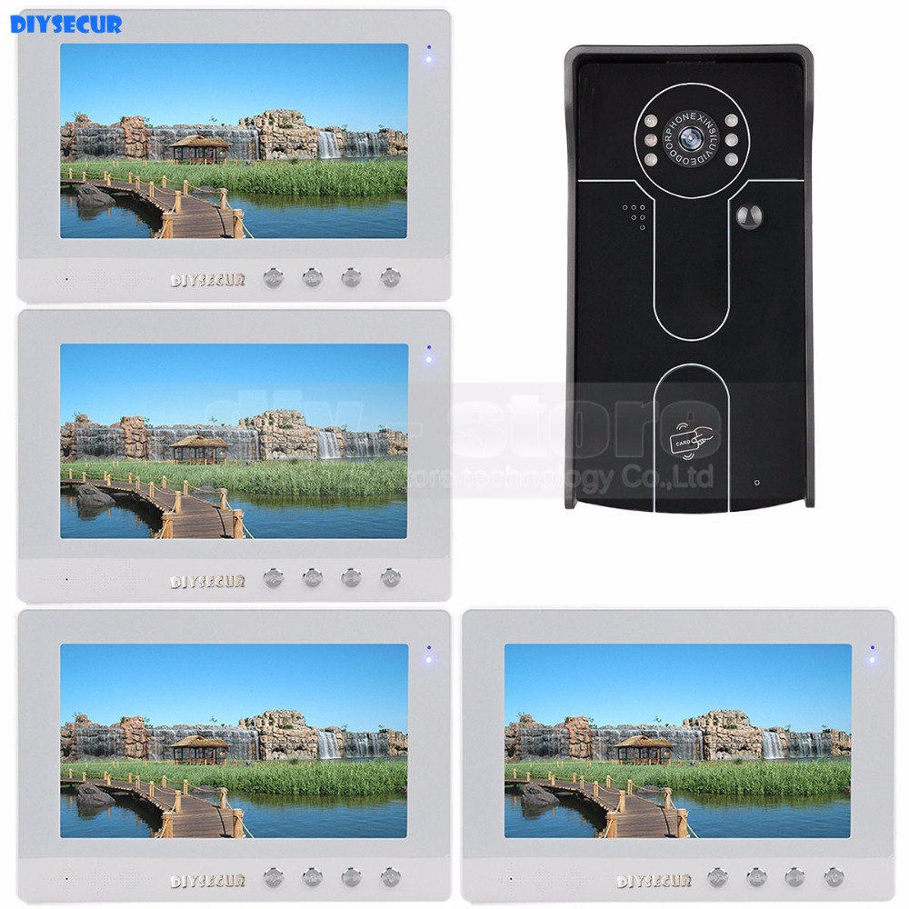 DIYSECUR 10 inch Wired Video Door Phone Doorbell Home Security Intercom System RFID Camera IR Night Vision 1 Camera 4 Monitors jeruan home wired 7 inch tft color video door phone intercom system 700tvl rfid access ir night vision coms camera cathode lock