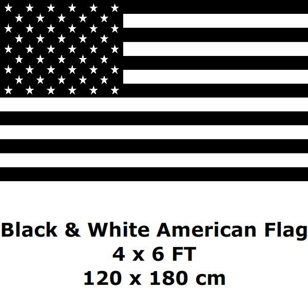 71732fbe0c4 American Flag 4` x 6` FT 100D Polyester Black and White Economic Recession USA  United States Flags and Banners Country Banner