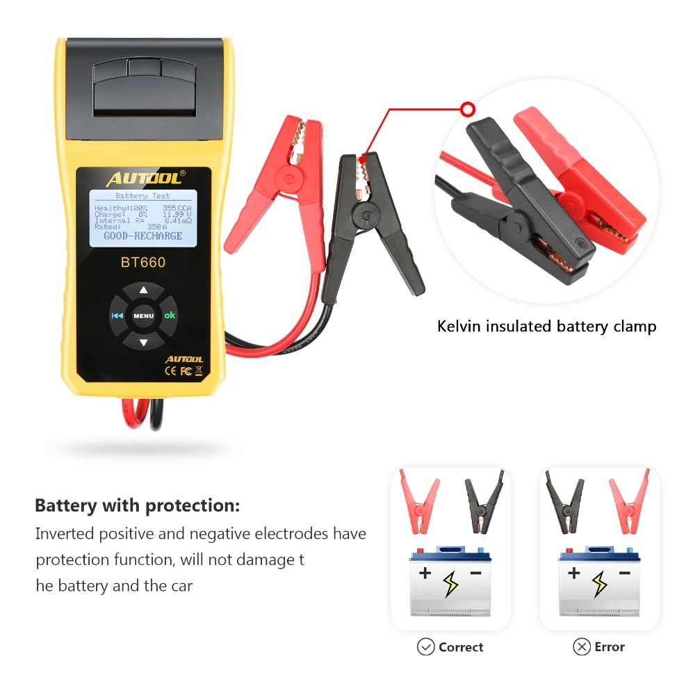 medium resolution of  autool bt660 car battery tester with print 12v built in thermal printer multi language auto diagnosis