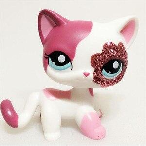 pet shop lps toys standing Short Hair Cat White red sparkle European kitty littlest girl Xmas gift(China)