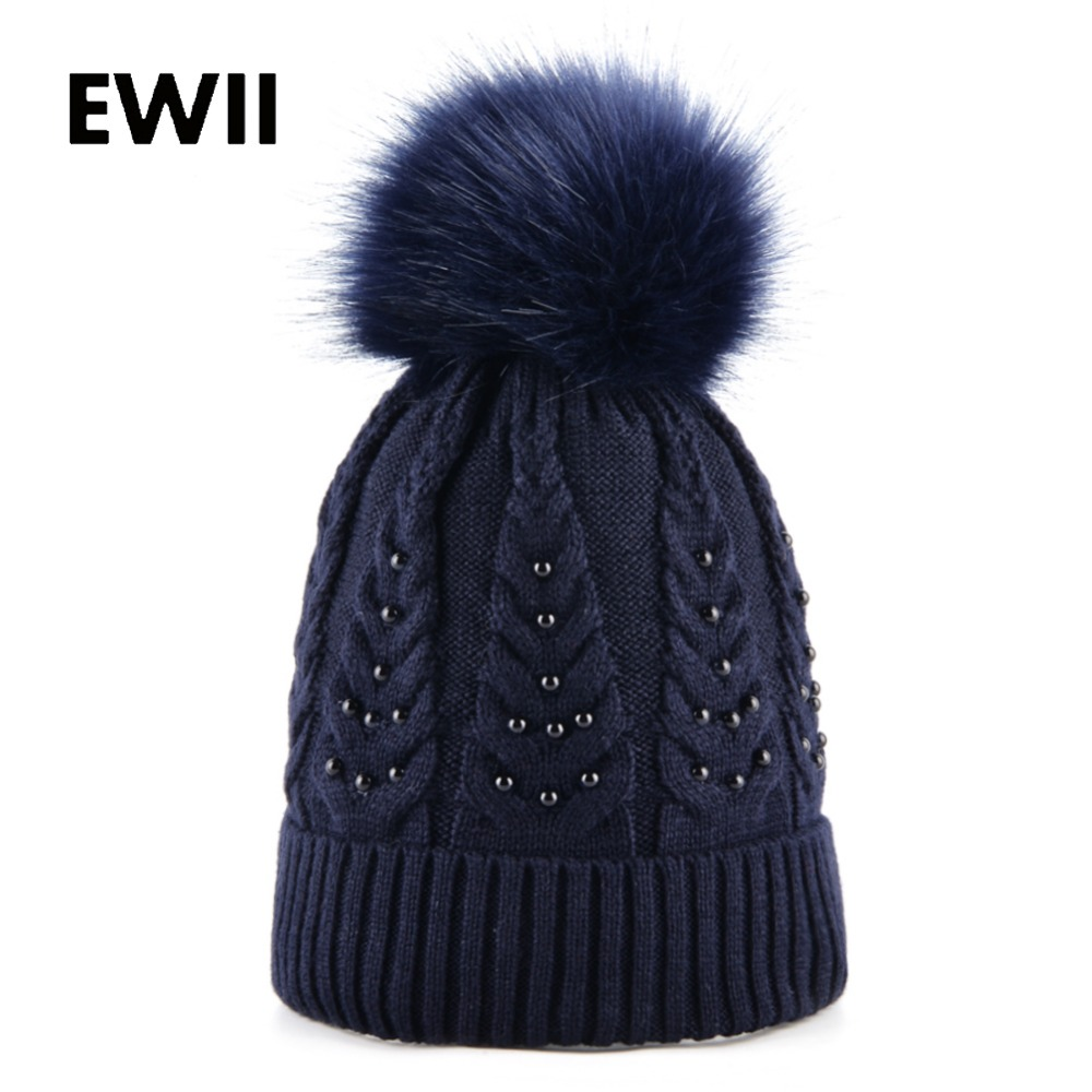Ladies Imitation fur pompom hat girls winter knitted caps women beanies skullies pearl cap casquette women wool hats bonnet andybeatty fur pompom skullies caps ladies knit winter hats for women beanies autumn winter beanie fur hat knitted wool cap