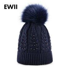 Ladies Imitation fur pompom hat girls winter knitted caps women beanies skullies pearl cap casquette women wool hats bonnet
