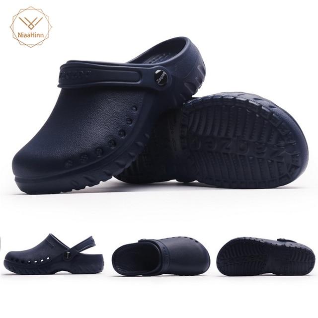 gran selección de 17ae7 8afff € 18.1 29% de DESCUENTO|Nuevas zapatillas de trabajo de Chef de cocina para  Hombre Zapatos de jardín de verano transpirables playa plana con zapatos ...
