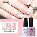 Elite99 7.3 ml Gel Nail Polish French Manicure Kit Set Envío Guías Tip Decoraciones de Uñas de Gel para el Arte Del Clavo
