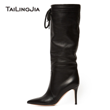 цена на New Elegance Woman Comfortable Black High Heel 9 CM Point Toe Knee Boots Lace Up Pointed Toe Ladies Winter Boots  Free Shipping