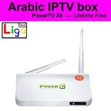 PowerTV X6 caja IPTV Árabe caja sin cuota de suscripción mensual, 500 + REINO UNIDO Líbano Árabe África BN Canal deportivo Android 4.4 IPTV caja