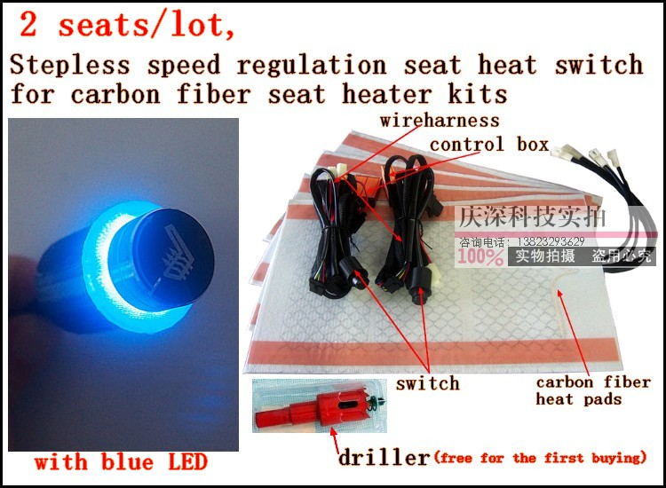 Seat-Heater-Kits Regulation 2-Seats/Lot New 1 with Blue LED Carbon-Fiber Stepless-Speed
