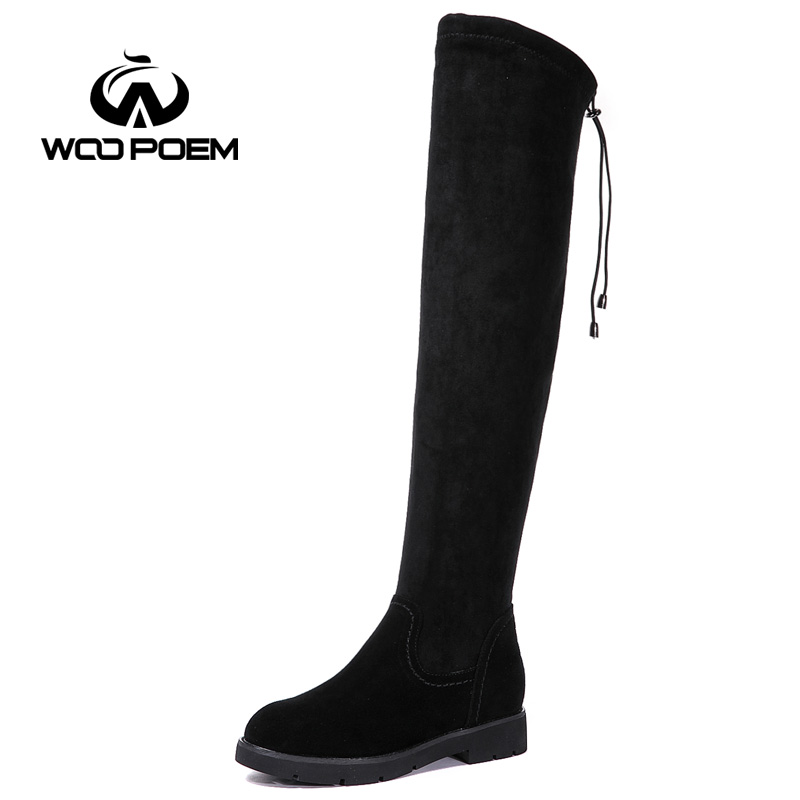 WooPoem Winter Shoes Woman Sheepskin Leather Boots Low Heel Flat With Shoes Over The Knee Women Boots Winter Boots 8772 woopoem brand winter shoes woman genuine leather boots low flat heel ankle boots rivet motorcycle boots retro women boots 510 l1