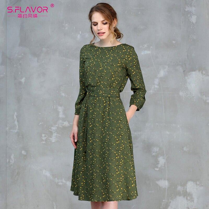 S.FLAVOR Casual Women Autumn Winter A-line Dress O-neck Three Quarter Sleeve Knee-length Dress Female Elegant Printing Vestidos