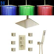 Hongdec bain de luxe en laiton brossé or thermostatique LED plafond 16 «système de douche ensemble