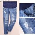 Hot Buraco Personalidade calças de Brim de Maternidade Roupas Gravidez Tamanho Grande Loose Women Calças de Maternidade Grávida de Algodão Jean YL402