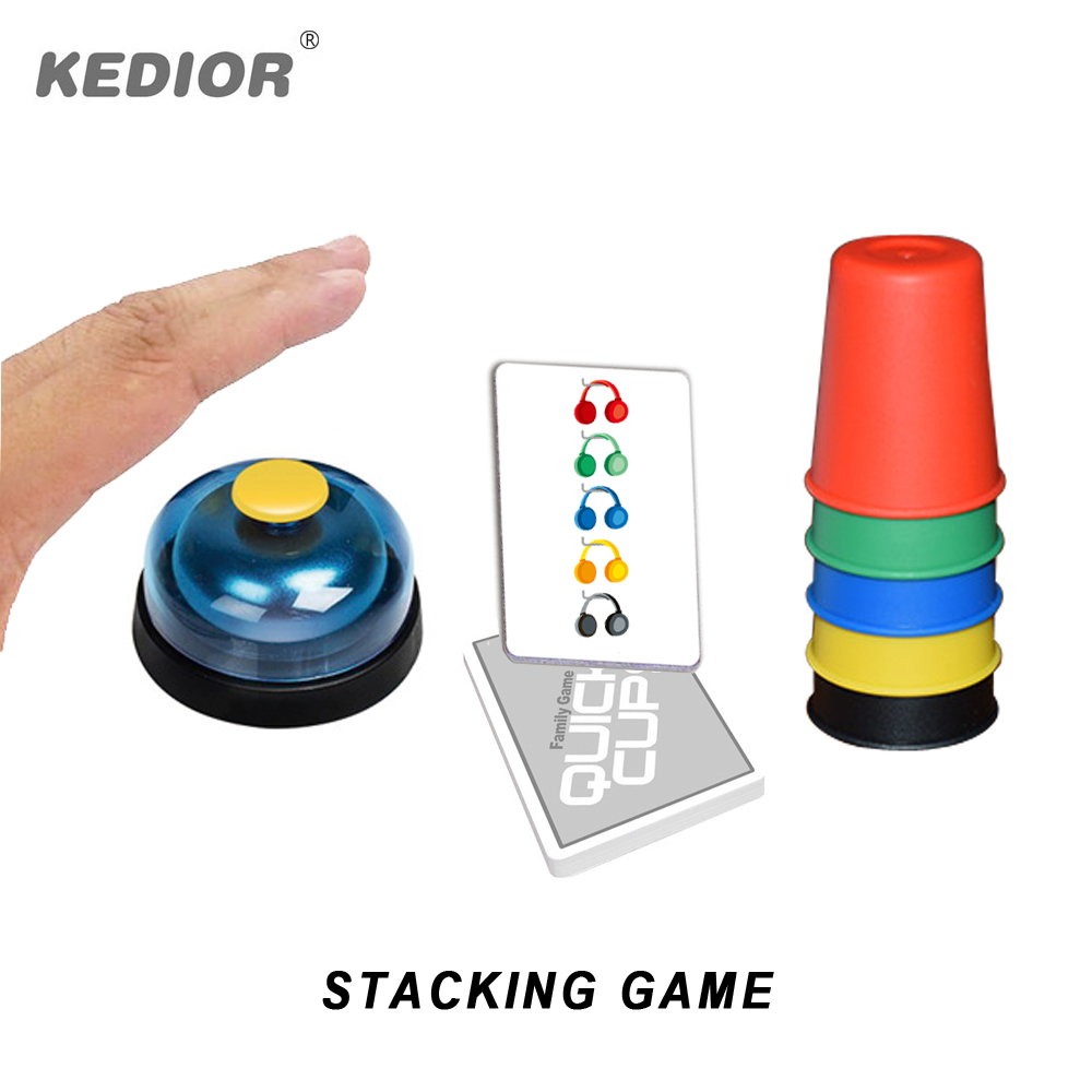Kedior Speed Cup Stacking Game Card Family Games Challenge Kids Quick Reaction Educational Toys 6 Players
