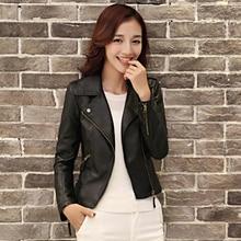 Women Spring Autumn Jacket Black Red Fashion Female Coat Slim PU Leather Short Outwear Jacket