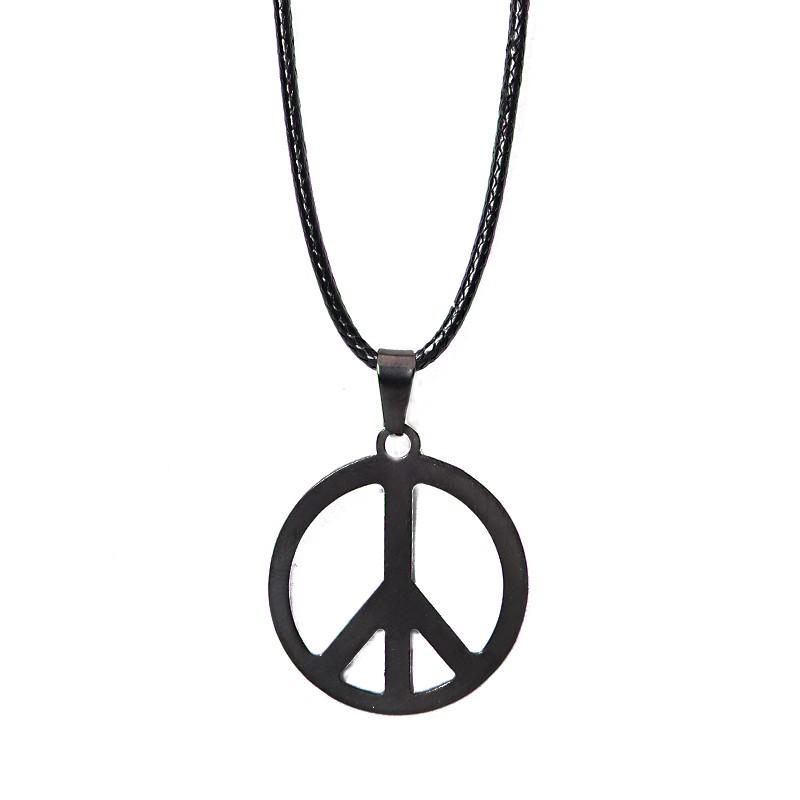 2aac00019357 Joyería de moda Acero inoxidable HAMSA Fatima mano signo de paz colgantes  de cadena de cuerda de cuero collares para Femme accessorieS