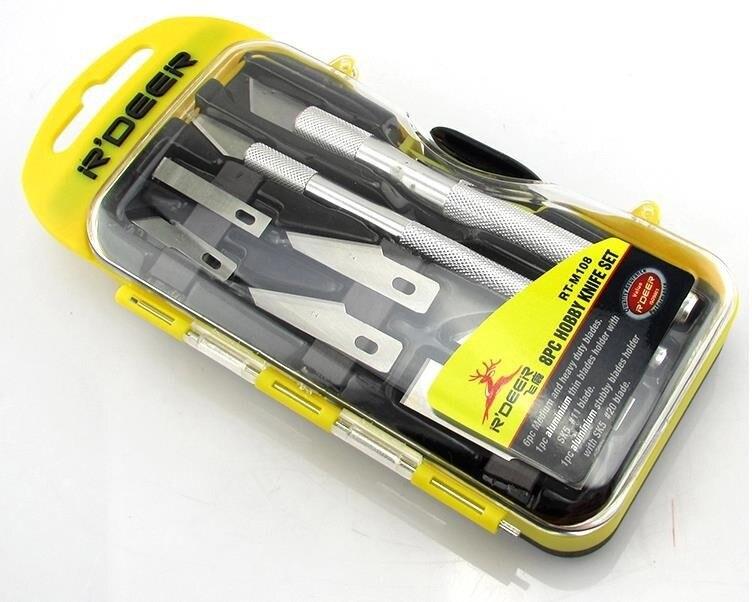 1SET R'DEER RT-M108 8pcs Graver Knife Set Multifunction Hand Tool Set Hobby Knife Kit Carving Knife Free shipping hobby bike rt fly а