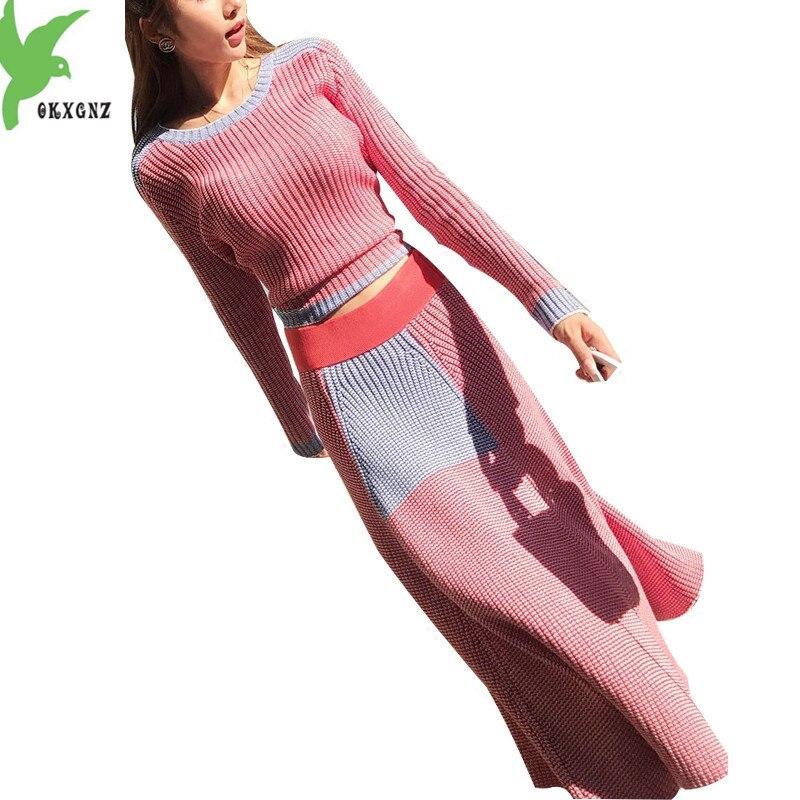 516da3615d Nueva Mujer Otoño Invierno suéter de punto de dos piezas traje suéter  grueso pulóver + cintura elástica gran swing Falda larga conjuntos OKXGNZ  1335
