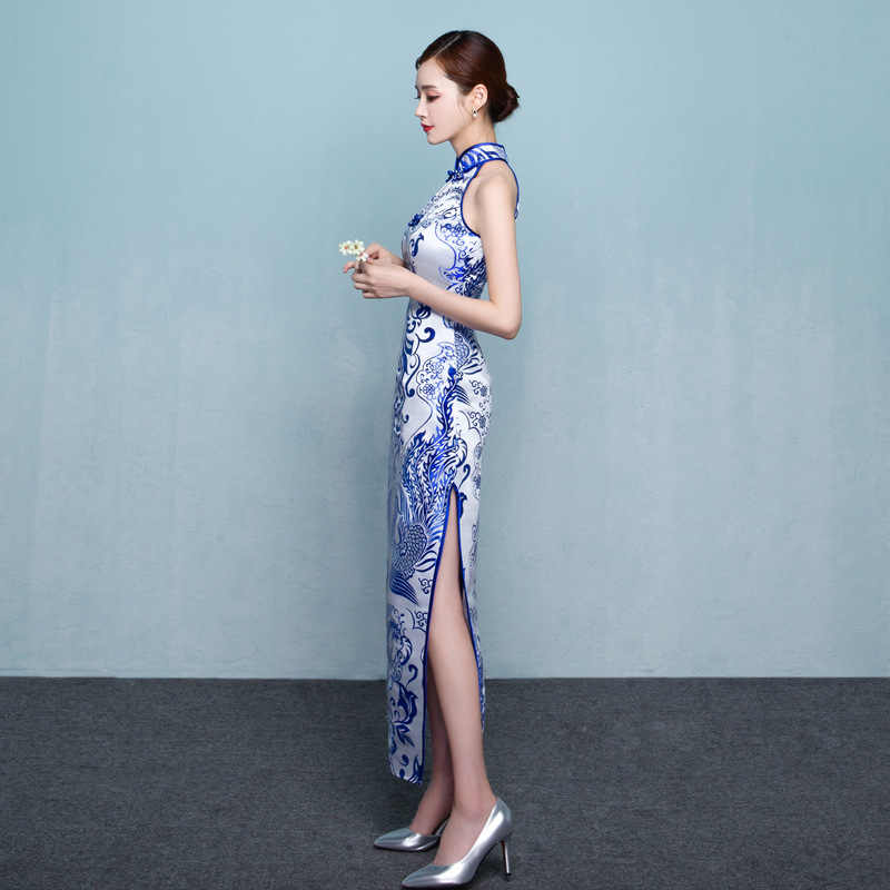 Niebieski biały porcelana Cheongsam Sexy orientalne sukienka azji ślub Qipao wieczór Party sukienki Retro szlafrok Plus rozmiar 3XL