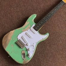цены handmade  6 Strings Rosewood fingerboard Electric Guitar,high quality gitaar relics by hands.green color guitarra