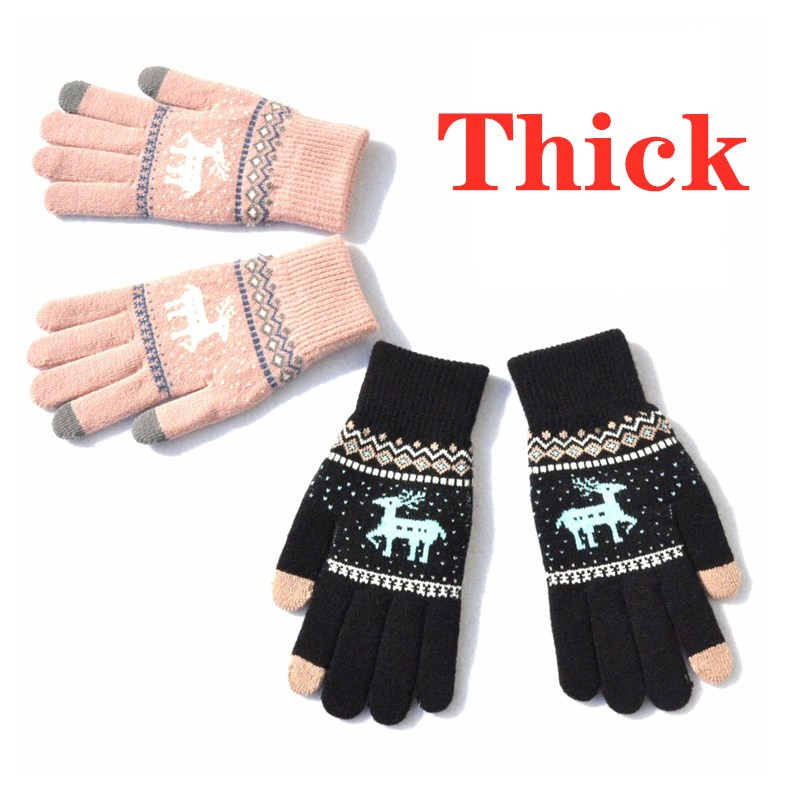 Howfits Women Men Thick Warm Touch Screen Gloves Winter Knit Knitting Knitted Phone Smartphone Christmas