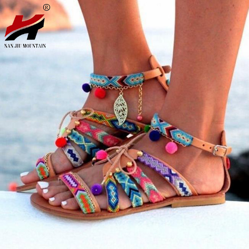 Plus Size 34-43 Ethnic Bohemian Summer Woman Pompon Sandals Gladiator Roman Strappy Embroidered Shoes Women Flat Sandals ethnic embroidered black cami dress for women