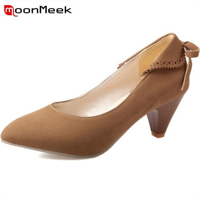 9904299041 MoonMeek fitas bowknot mulheres bombas dedo apontado sexy moda tamanho  grande 33-49 cone sapatos