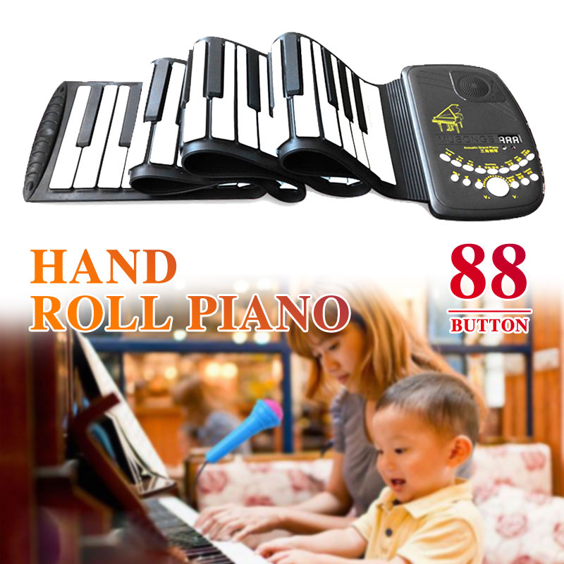 88 Keys Roll Up Piano Electronic Organ Electronic Keyboard Piano 88 Key D88K10 Flexible Beginner with Loud Speaker Musical Tools цена