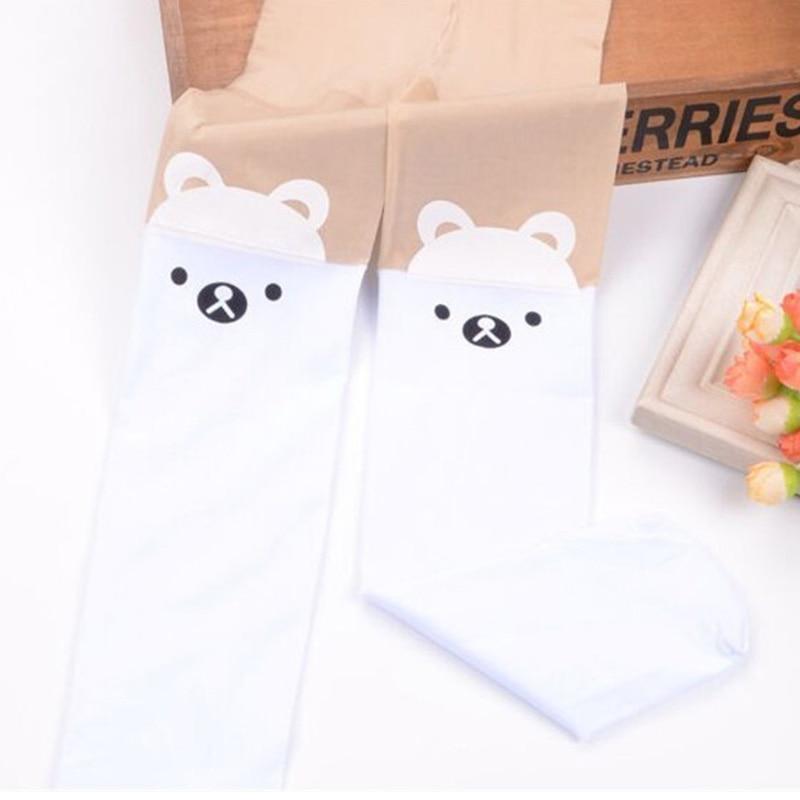 Baby Cute Pantyhose Kids tights Knee Fake Velvet Stocking White Cartoon cat Children's Princess Girl Tights Stockings Tights 6