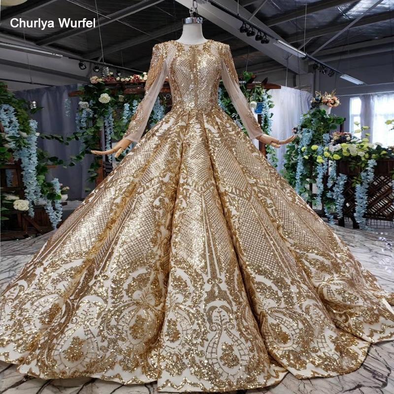 HTL527 Luxury Evening Dress Floor Length O-neck Long Sleeve Shiny Golden Evening Gown For Muslim Abito Lungo Cerimonia Donna