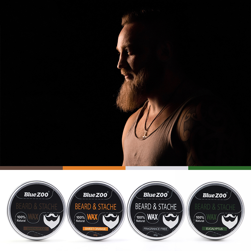 New 1 Box 30g Natural Organic Facial Beard Wax Beard Care Cream Tasteless Sandalwood Orange Eucalyptus 4 Taste Choice TSLM2 5