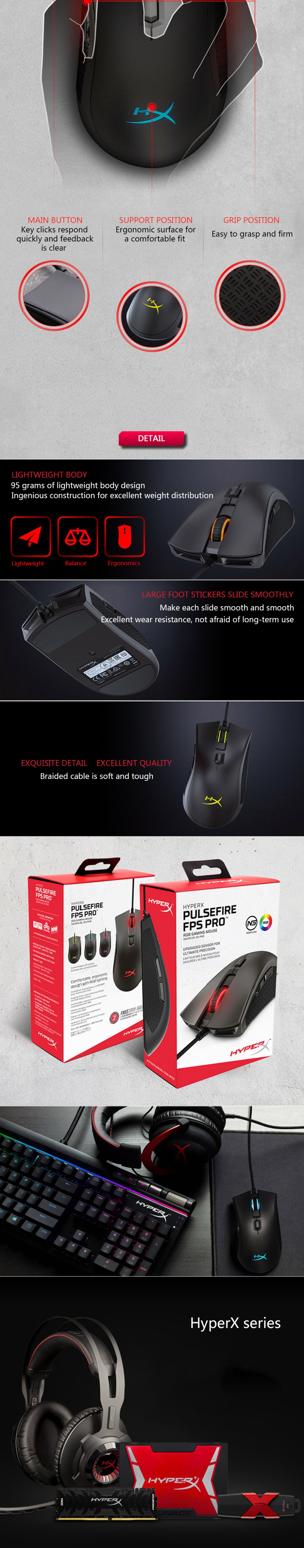 Kingston 3389 sensor wired mouse HyperX Pulsefire FPS Pro RGB Gaming Mouse with native DPI up to 16000 Pixart E-sports mouse 7