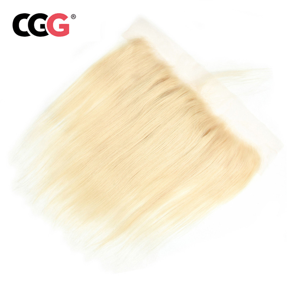 CGG Hair Closure Lace-Frontal Blonde To 613 Straight Malaysian with Ture Length Non-Remy