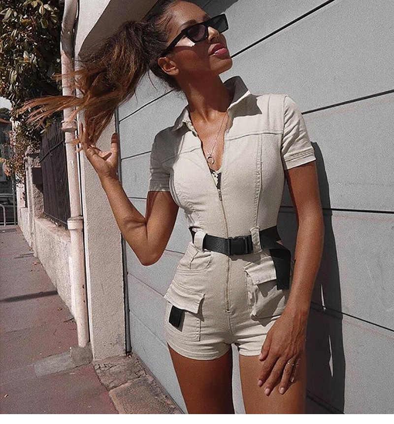 """2019 летние женские комбинезоны комбинезон на каждый день спереди шорты с застежкой """"молния"""" летние брюки карго рубашка комбинезон женский хаки комбинезон"""