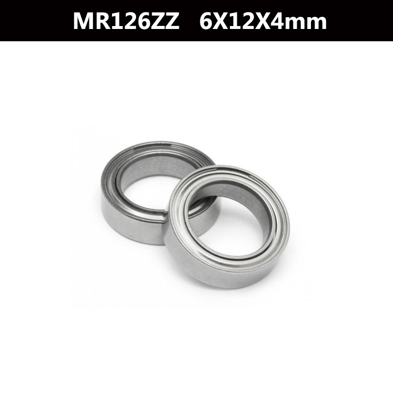 10 Pcs <font><b>MR126zz</b></font> 12mm x 6mm x 4mm Steel Shielded Deep Groove Ball Bearing image