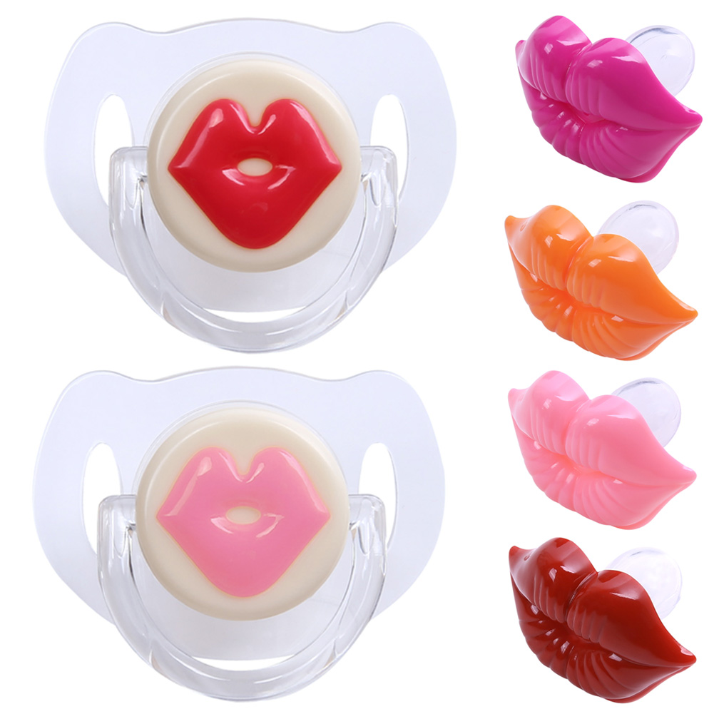 1Pcs Joke Prank Baby Pacifier Silicone Funny Baby Nipples Teeth Soothers Sexy Kiss Lip Dummy Nipple Soother Pacifier