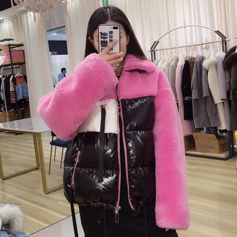 Coréenne Court Nouvelle Moutons camel Style Mode Streetwear purple De Pink 2018 Véritable Col D'hiver red Duvet white Femmes Manteaux Manteau Veste Fourrure Naturel Canard yellow 7anvxwA