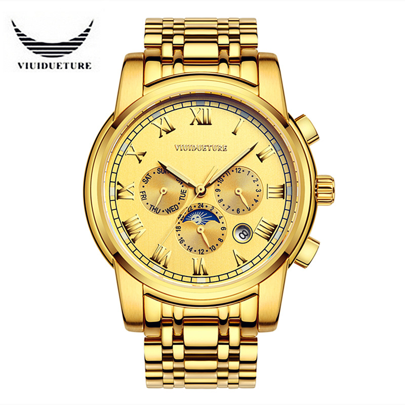 все цены на VIUIDUETURE Luxury Mechanical Automatic Watch Men High-Quality Leather & Steel Skeleton Double Calendar Watch Relogio Masculino онлайн