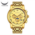 VIUIDUETURE Luxury Mechanical Automatic Watch Men High-Quality Leather & Steel Skeleton Double Calendar Watch Relogio Masculino