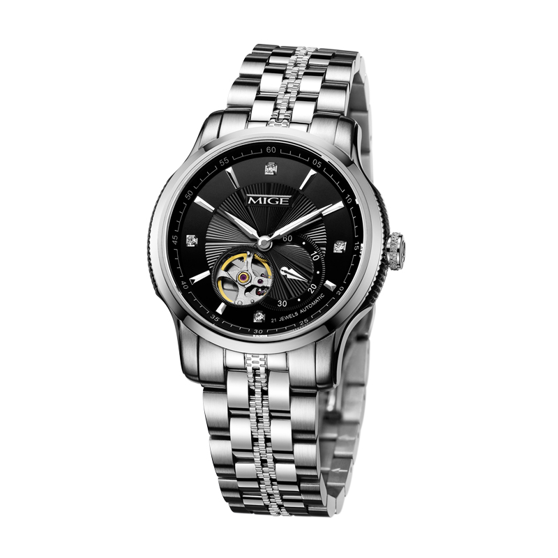 2018 Mige New Hot Tourbillon Skeleton Mechenical Mans Reloj Negro - Relojes para hombres