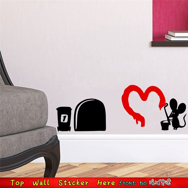 Mouse painting love print wall stickers home decoration house ornaments wall paper paste wall decals mural