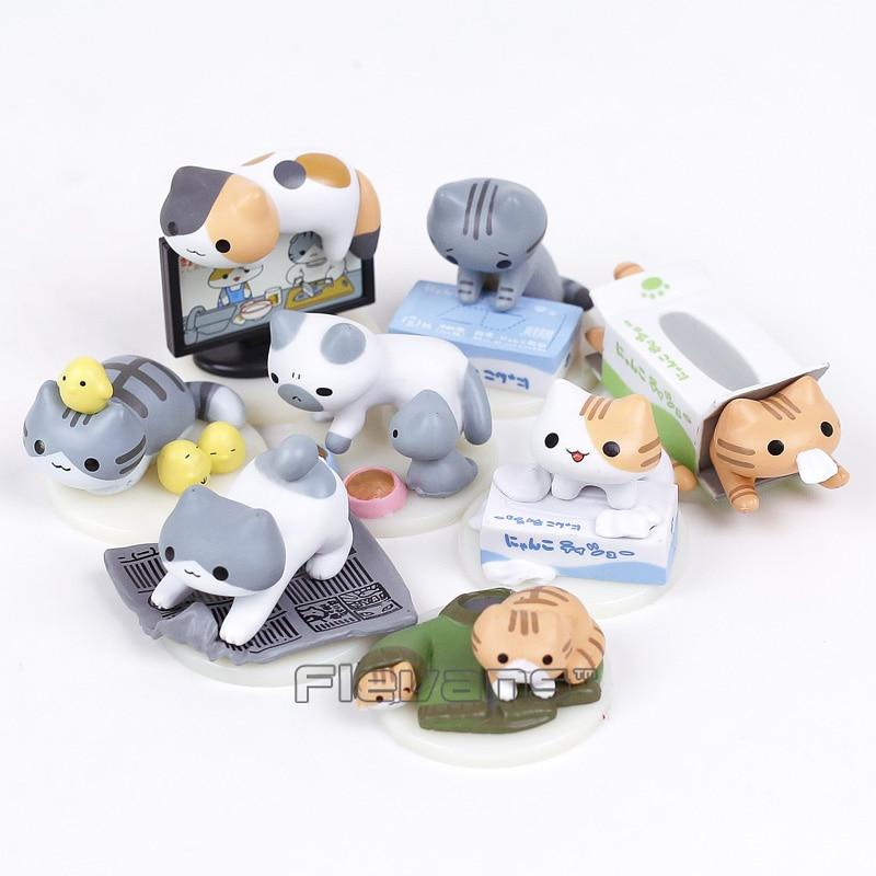 Anime Cartoon Nekono Kyuujitsu Neko Atsume Cute Lovely Cats Model Toys Mini PVC Figure Girls Toys Gifts 8-pack аксессуары для косплея neko cosplay