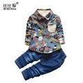 Весна Детская Одежда Устанавливает Джентльмен Малыш Мальчик Roupas Младенческой Граффити джинсы Джинсовые брюки Мальчик Одежды костюм Новорожденных детская одежда